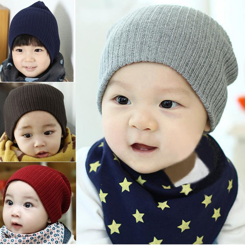 Baby Kid Winter Knitted Cap Elastic Acrylic Children Skully Beanie Crochet Hat