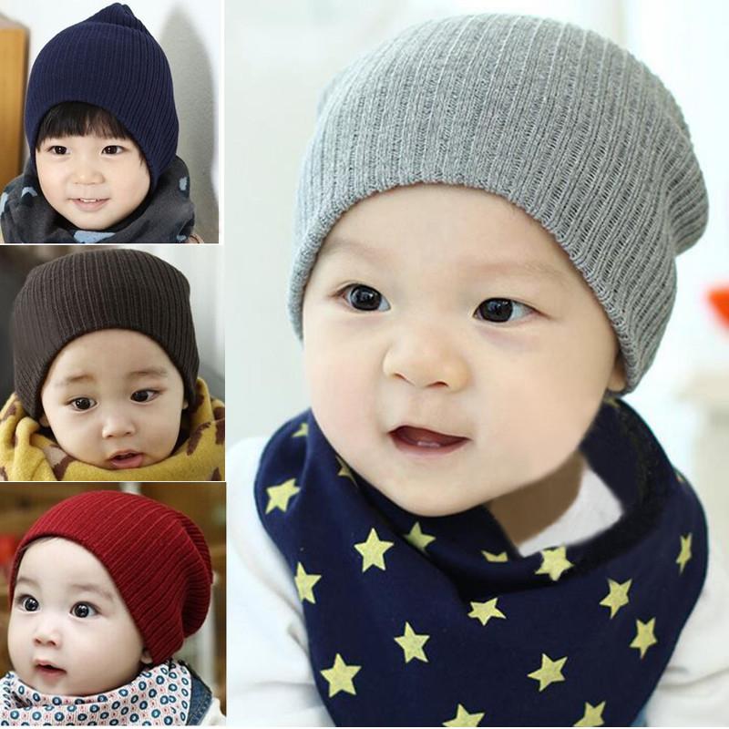 Baby Kid Winter Knitted Cap Elastic Acrylic Children Skully Beanie Crochet Hat