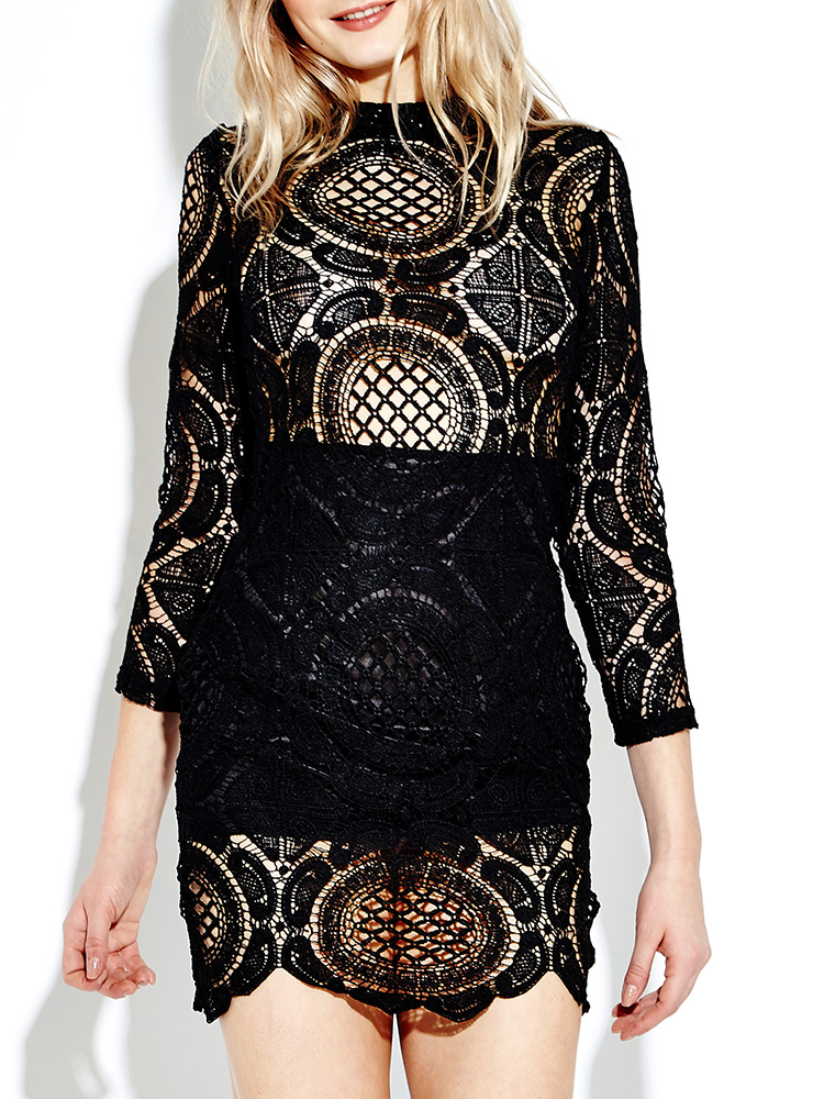 Women Long Sleeve Lace Crochet Hollow Out Splicing Mini Dress