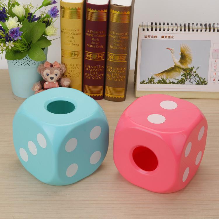 Dice Tissue Box Creative Night Light Shine Facial Paper Storage Box Home Organizer Case