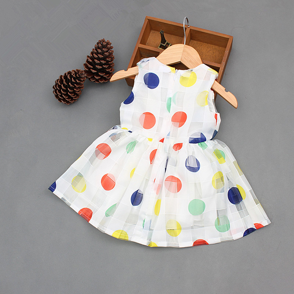 Sweet Kids Girls Big Bowknot Polka Dot Sleeveless Princess Dresses
