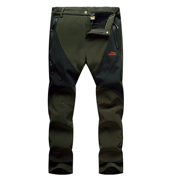 Mens Outdooors Thick SporT-pants Soft Shell Waterproof Windproof Warm Mountaineering Pants