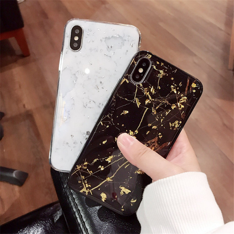 Glitter Glossy Bling Marble Soft TPU Protective Case for iPhone X 6/6s Plus/7/8 Plus