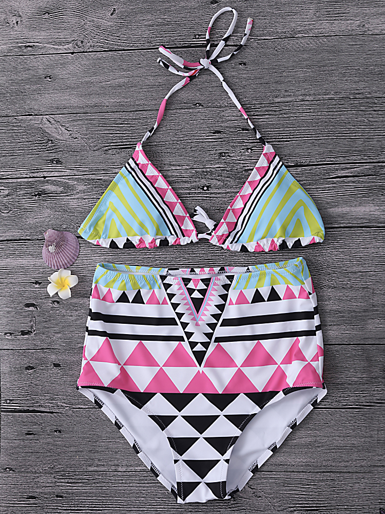 Women Sexy Geometric Folk Style Printing Halter Backless High Waist Wireless Bikini