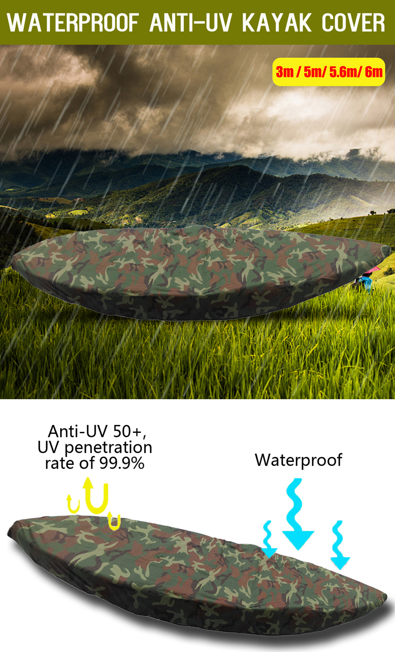 3/5/5.6/6m Kayak Boat Cover Waterproof Anti-UV Sun Canoe Dust Protector