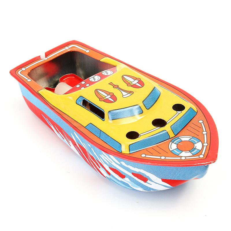 Classic Vintage Clockwork Wind Up Candle Ship Reminiscence Children Kids Tin Toys