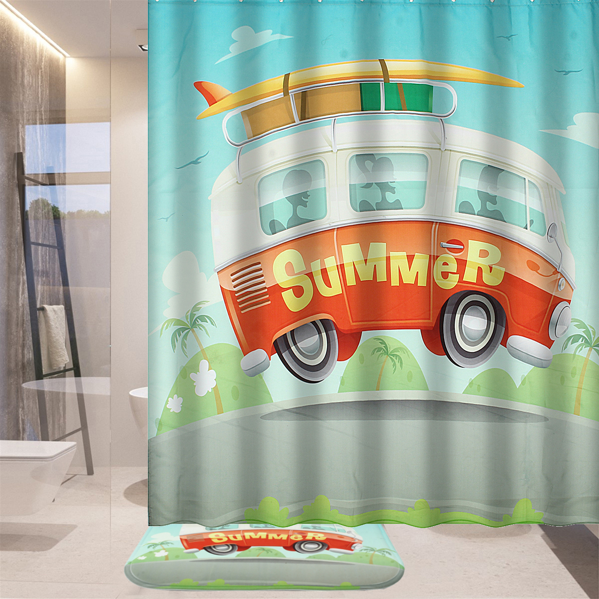 180cm Summer Camping Car Shower Curtains Waterproof Pol