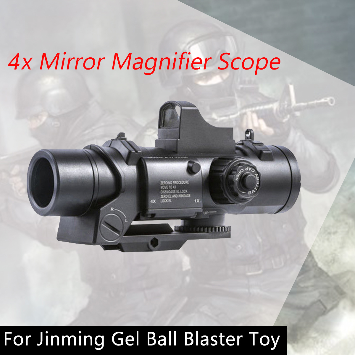 4X Mirror Magnifier Scope with Red Dot Sights For Jinming Gel Ball Water Toy