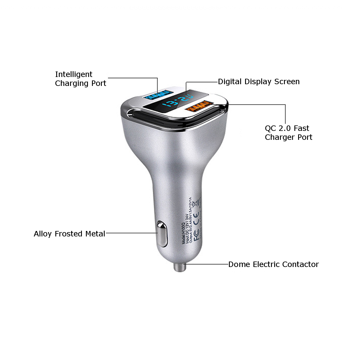 4.8A Digital Voltage Current Tester Dual USB Fast Car Charger Adapter Universal