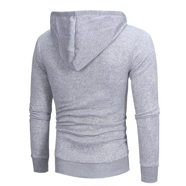 Men's Diagonal Zipper Hoodies Drawstring Casual Sweatshirt