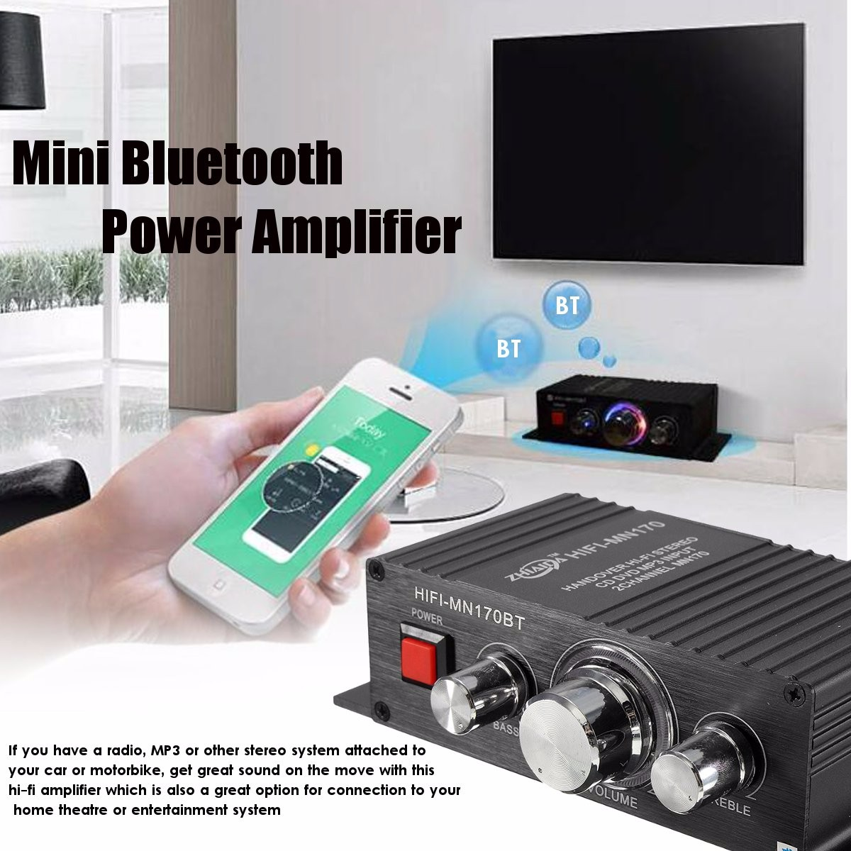 bluetooth 2 Channel Car Home Mini HIFI Stereo Power Amplifier for Radio MP3