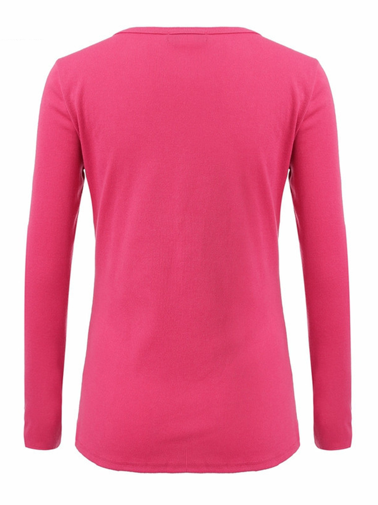 Women V Neck Long Sleeve Knitted Slim Buttons T-Shirt