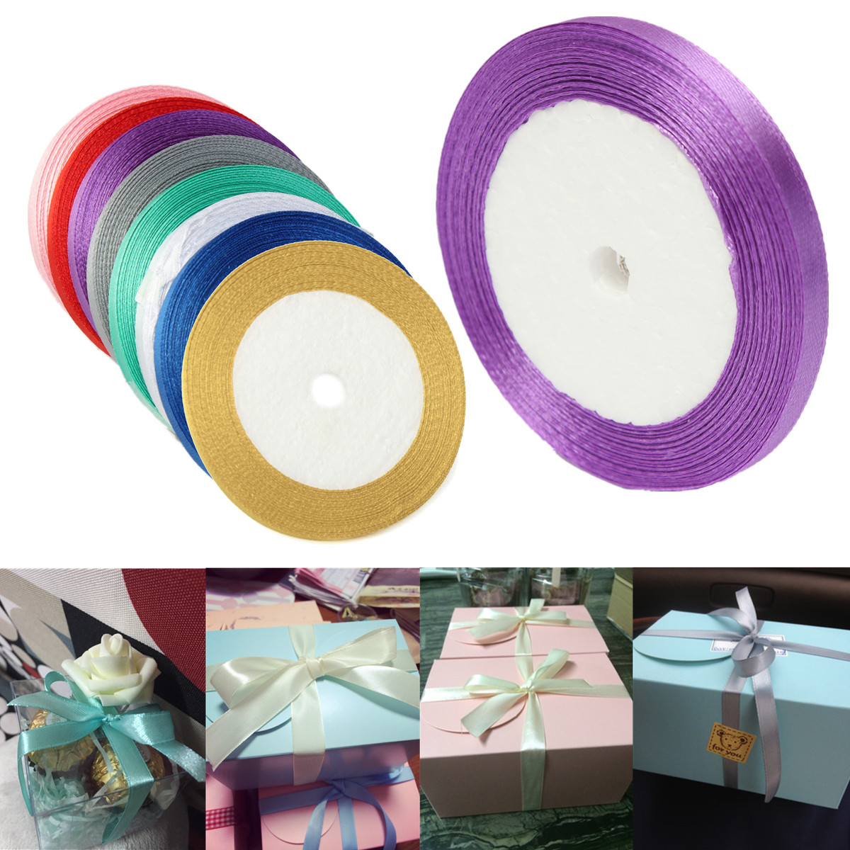 6mm 25Yards Reel Grosgrain Ribbon Wedding Birthday Party Gift Candy Box Decoration