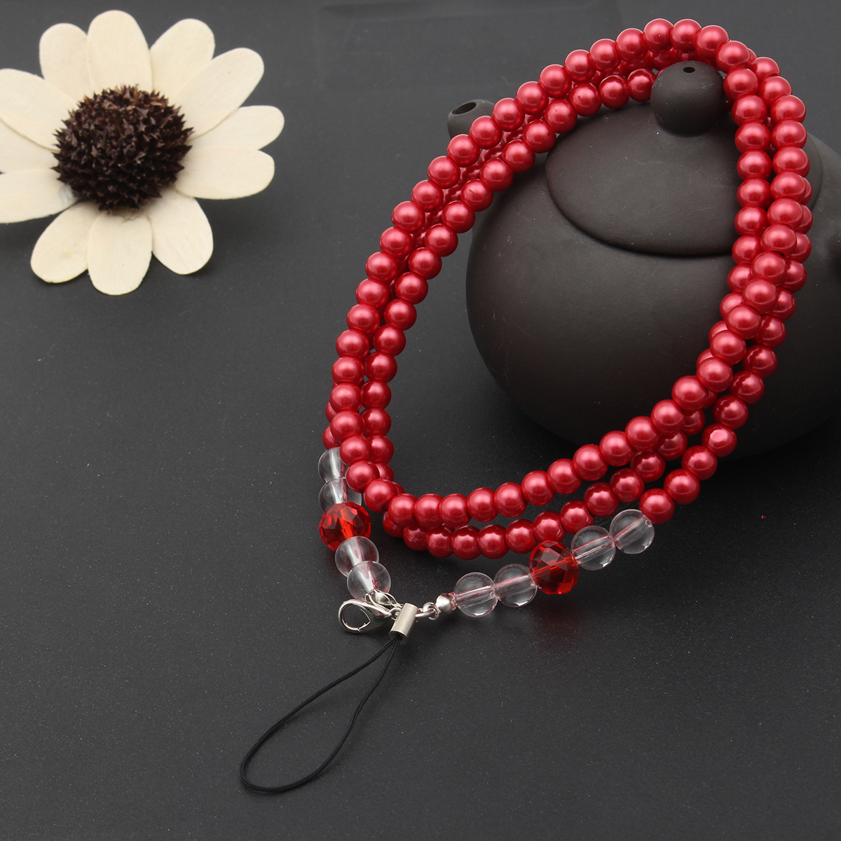 Universal Neck Handmade Lanyard Pearl Metal Buckle Chain Phone Strap for Cell Phone