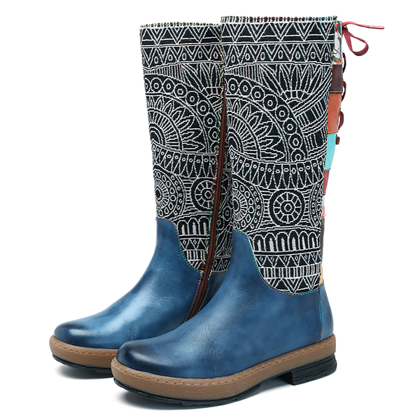 SOCOFY Zipper Genuine Leather Boots