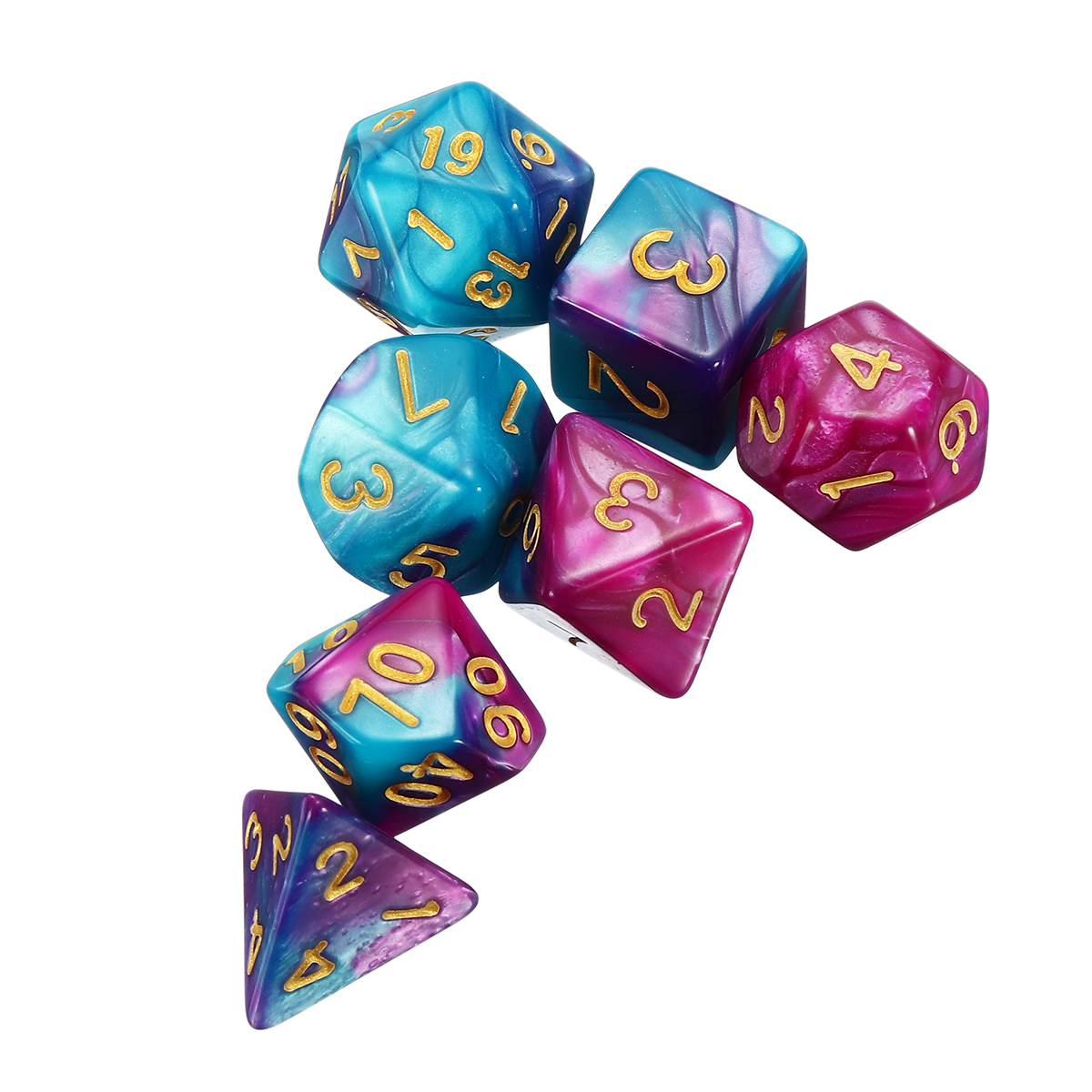 7Pcs Polyhedral Dice Set Role Playing Dice Gadgets With Bag