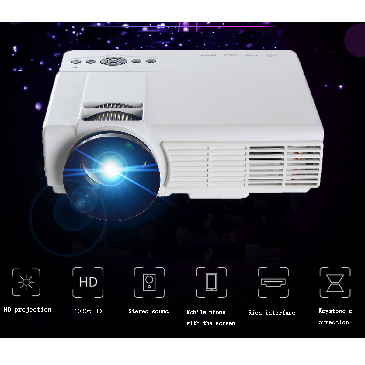 Cl720 3000 Lumens Hd Home Theater Multimedia Lcd Projector: Powerful Q5 3d Hd 1080p 3000 Lumens 800 X 480 Resolution