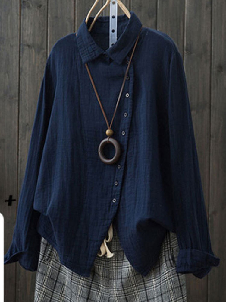 Women Long Sleeve Side Button Down Loose Casual Basic Blouse