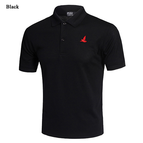 Casual Solid Color Embroidery Quick Drying Golf Shirt