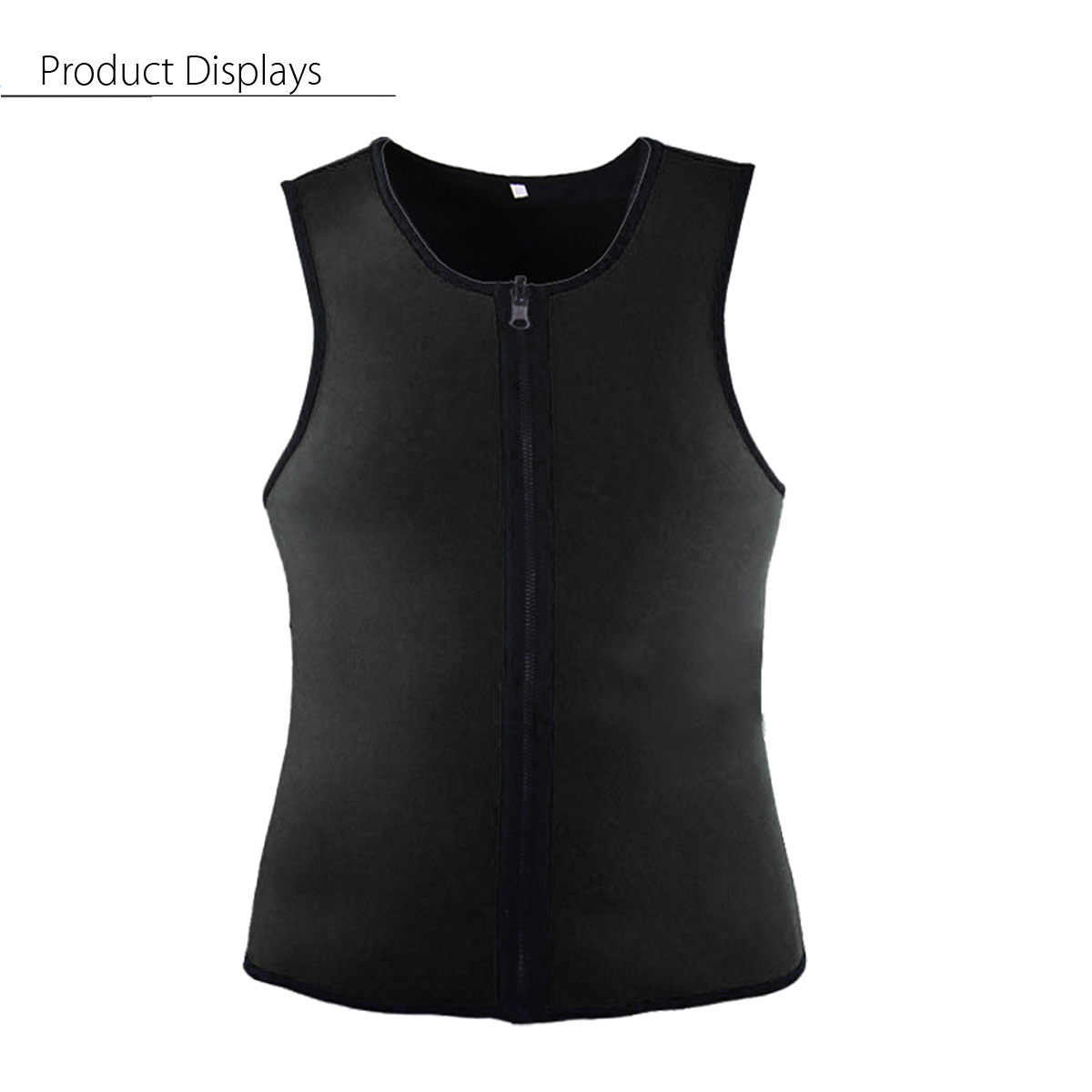 Black Men Slimming Vest Body Shaper Belly Wrap Abdomen Weight Loss Zipper Sauna Corset Shapewear