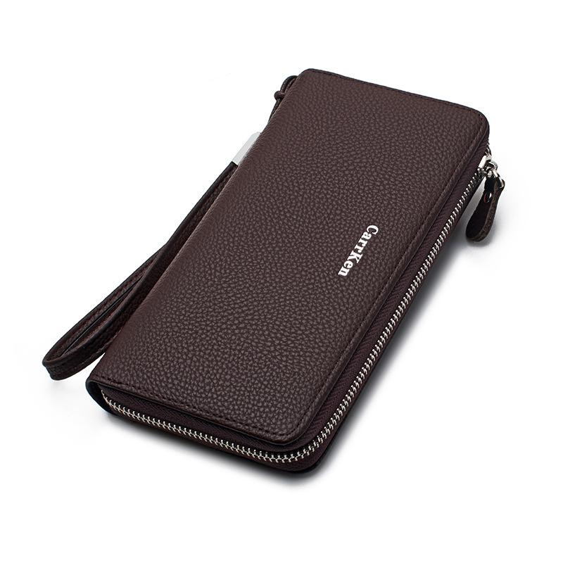 Men Faux Leather Zipper Long Wallet Multifunction Card Holde