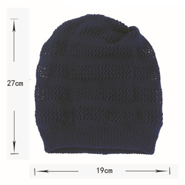 Women Solid Warm Adjustable Knitted Hat