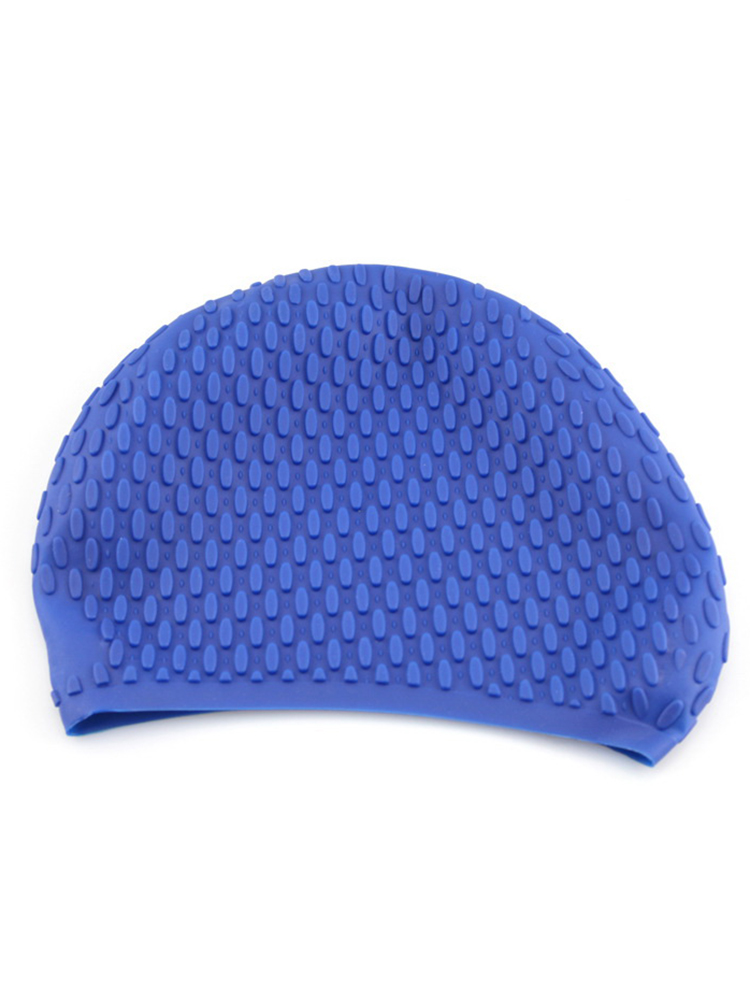 Men Women Comfy Stretchy Bubble Swim Cap Waterproof Silicone Caps