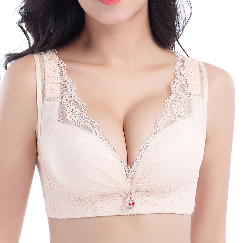 Plus Size Wire Free Deep Plunge Back Shaping Lace Bra