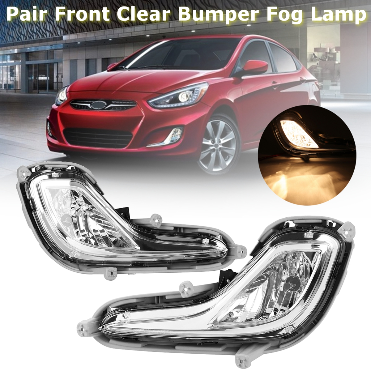 A Pair 12V Left Right Front Clear Bumper Car Fog Lights Lamps for Hyundai Accent 2012-2014