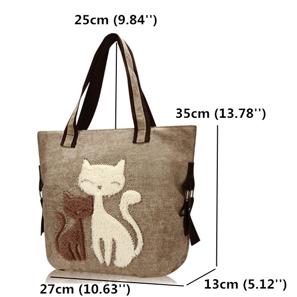 Women Cat Canvas Bags Casual Animal Shoulder Bags Large Capcity Shopping Bags