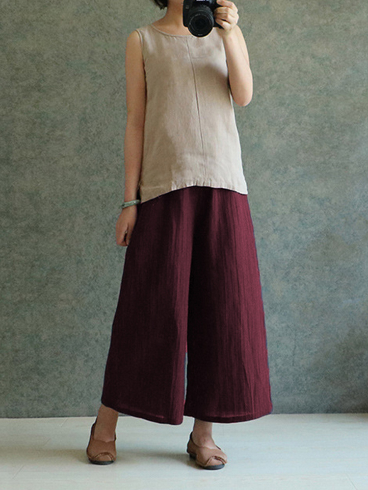 Celmia M-4XL Womens Solid Color Cotton Linen Wide Leg Pants