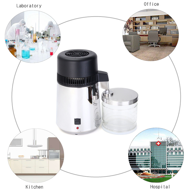 304 Stainless Steel Water Distiller 4L Pure Water Purifier Filter EU Standard Kitchen Appliance