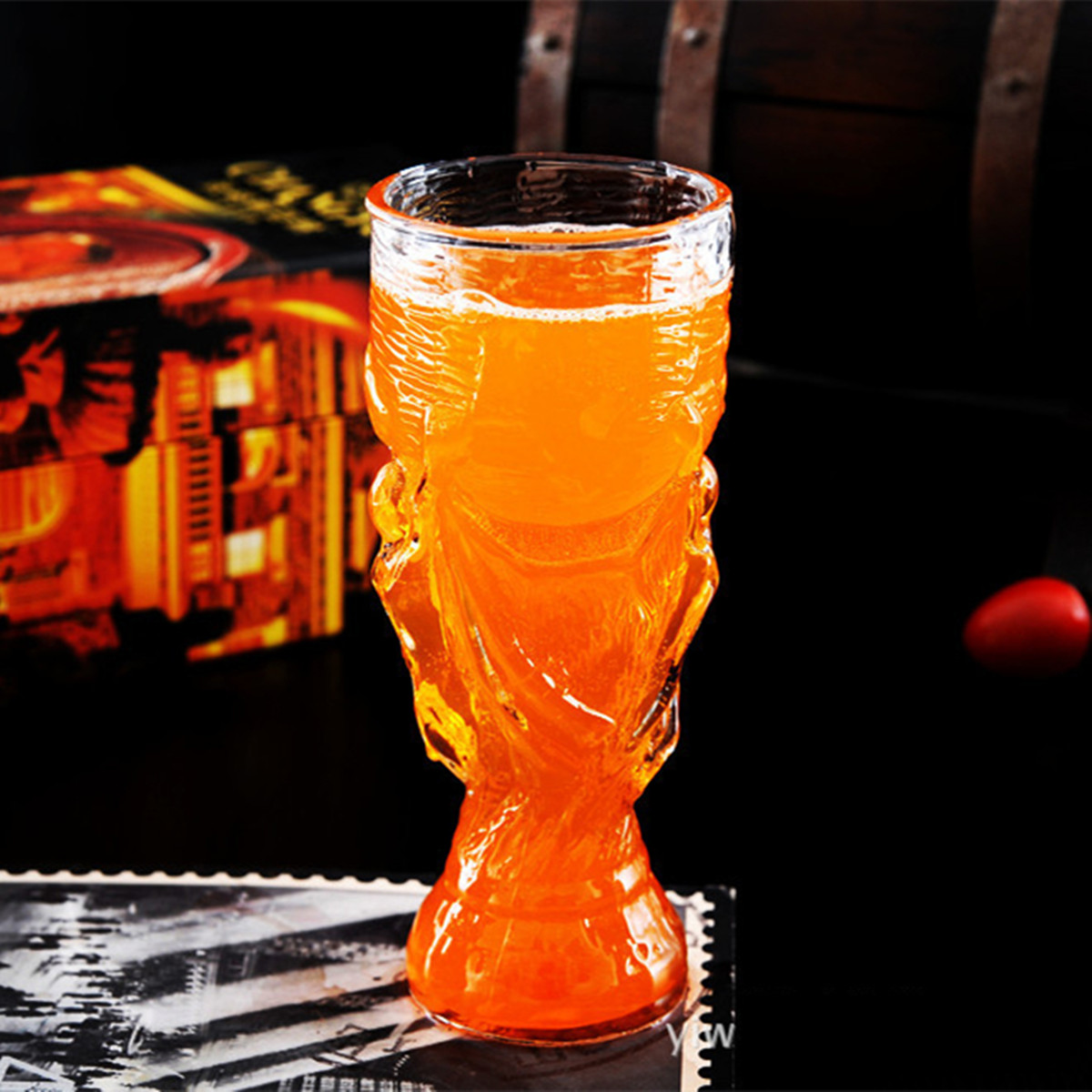 350ml Glass Beer Cup Glasses Crystal Water Whiskey Wine Drinking Mug Football Barware