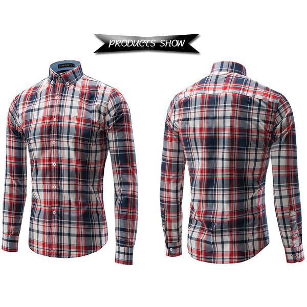 Mens Casual Style Long Sleeved Shirts Fashion Grid Dress Shirts