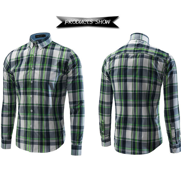 Mens Casual Style Long Sleeved Shirts Fashion Grid Dress Shirts