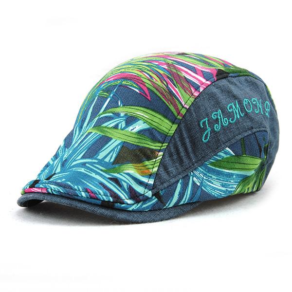 Unisex Cotton Leaf Printed Beret Hat Leaves Pattern Buckle Adjustable Paper Boy Cabbie Visor Cap