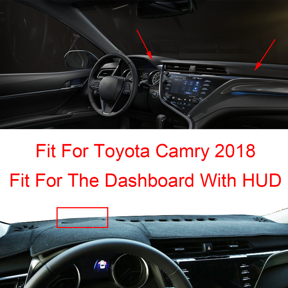 Dash Mat Dashmat Dashboard Cover Pad Sunshade for Toyota Camry 2018 Left Hand Drive with HUD