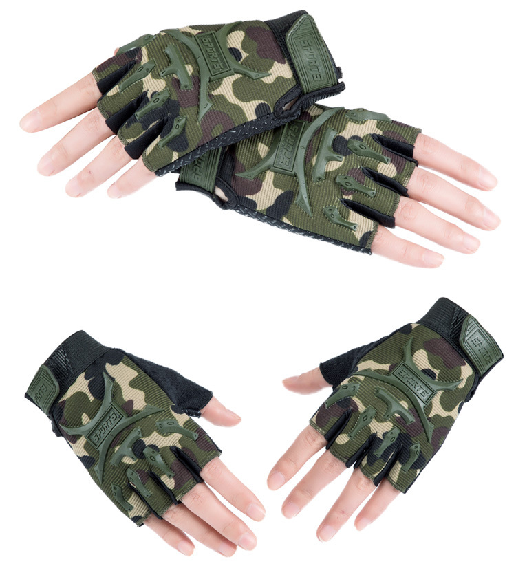 Kid Tactical Gloves Half Finger Gloves Slip Resistant Chrildren's Glove For Outdoor Cycling Camping Hunting-S M
