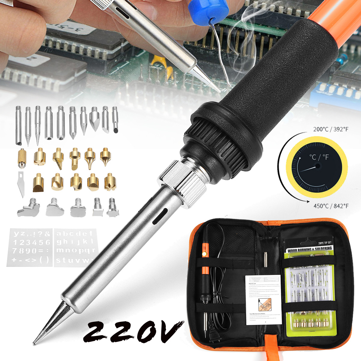 28Pcs 220V 60W Adjustable Temperature Solder Iron Tool Kit Wood Burning Pen Assorted Tips Set EU Plug with Bag
