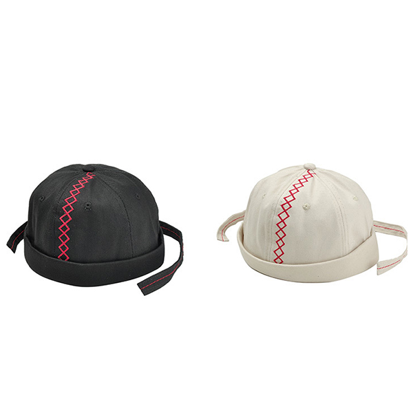 Men Canvas Embroidery Skullcap Rolled Cuff Brimless Hats