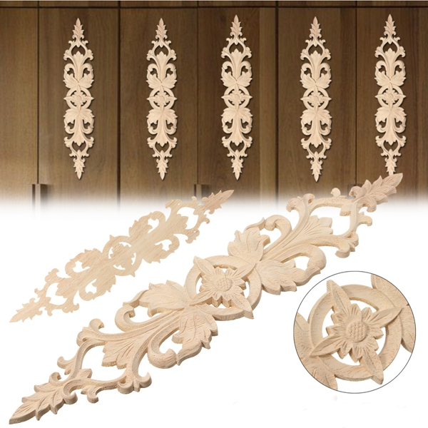 33X6cm Wood Carved Applique Onlay Carpenter Frame Decal Home Furniture Decor