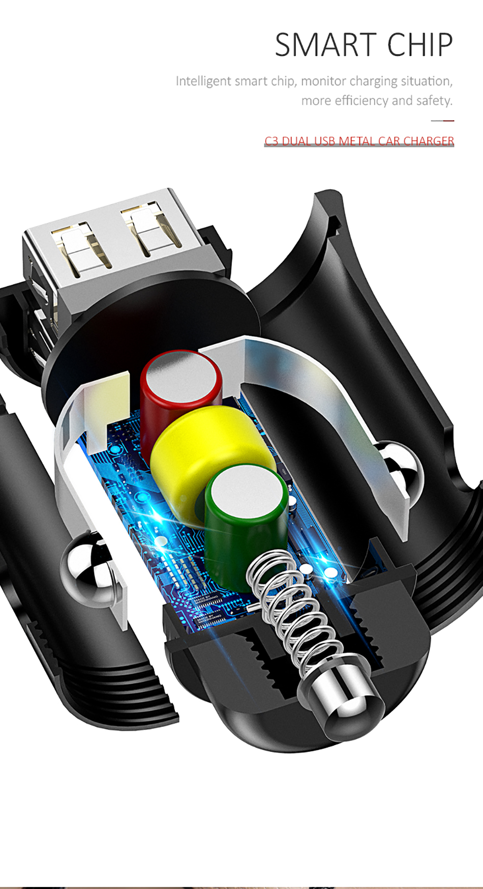 USAMS 3.1A Dual USB Ports Fast Car Charger With LED Light For Smart Phone Tablet Camera MP4
