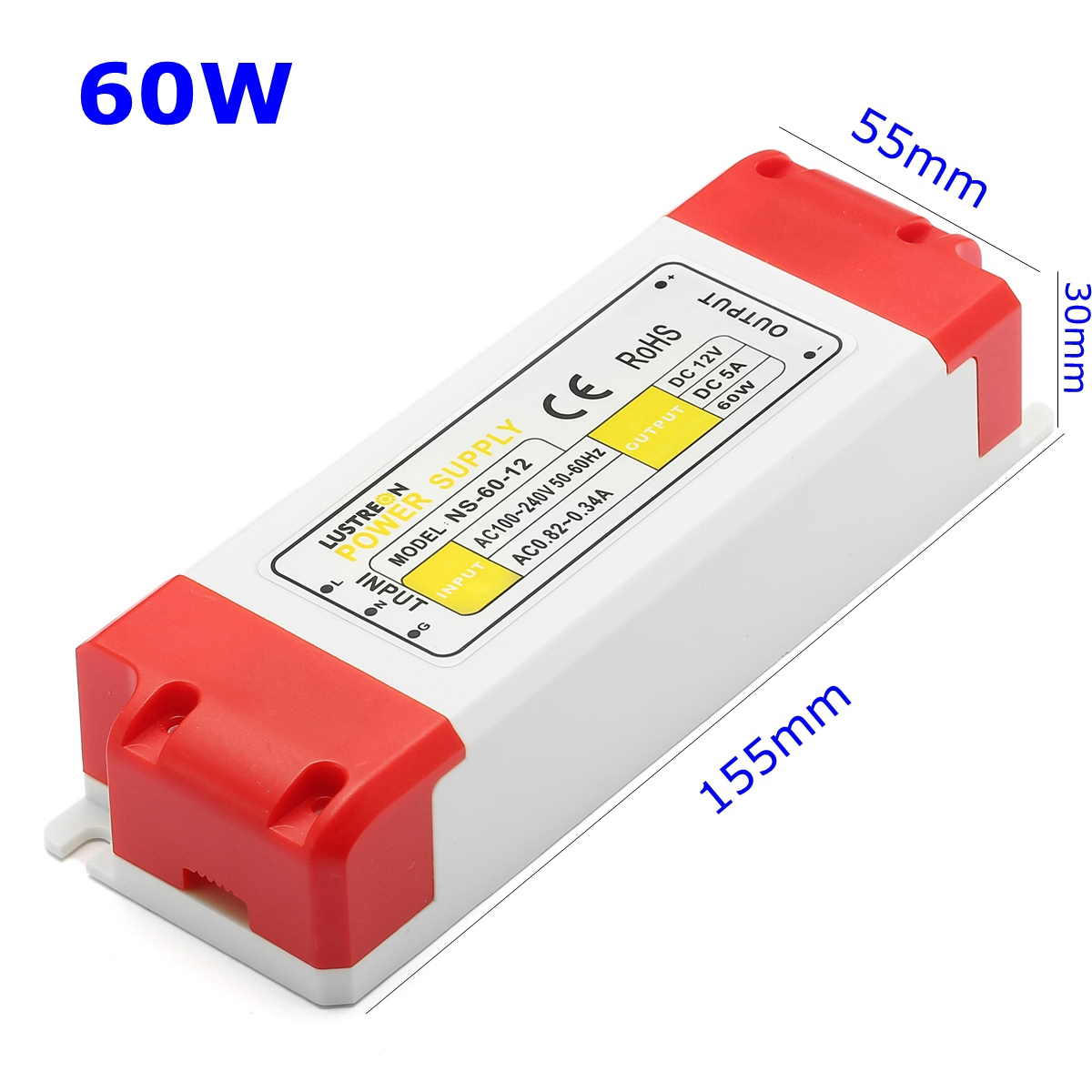 LUSTREON 12W 24W 36W 48W 60W AC100-240V to DC12V LED Driver Power Supply Adapter Transformer
