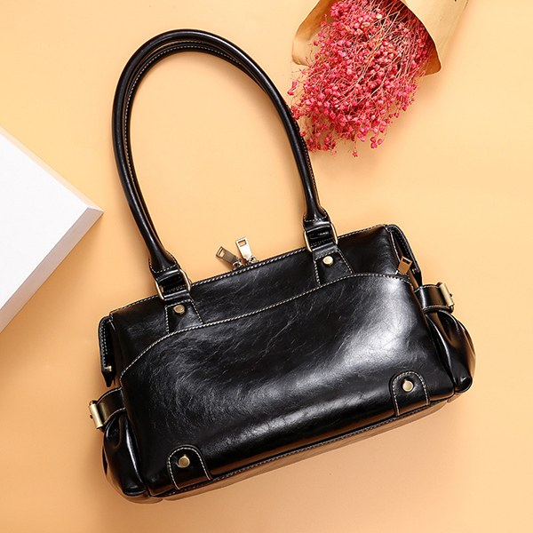 Women Genuine Leather Cowhide Vintage Designer Handbag