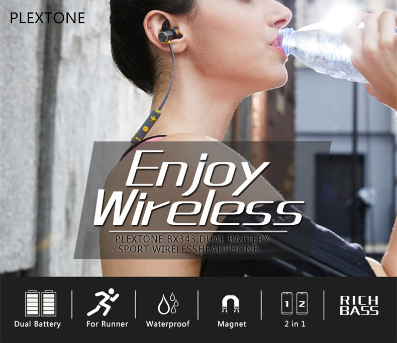 PLEXTONE BX343 Sport IPX5 Waterproof Dual Battery Magnetic Wireless bluetooth Earphone With Mic