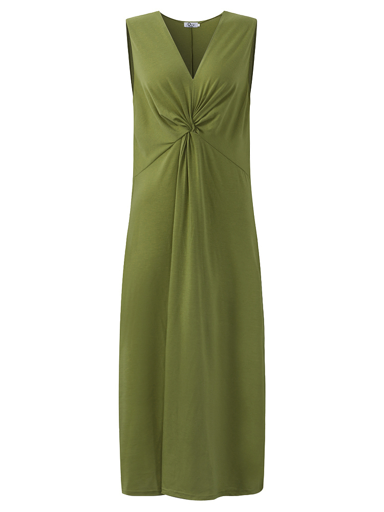 Sexy Women Sleeveless V-Neck Pure Color Knot Front Maxi Dress