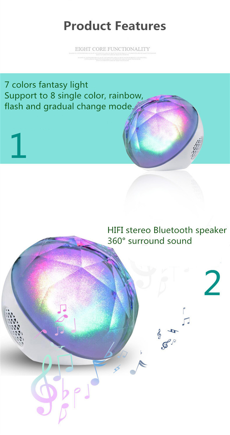 Crystal Colorful Magic Remote Control LED Lamp TF Card Wireless bluetooth Speaker