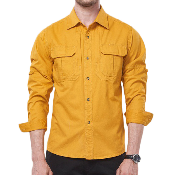 Casual Business Chest Pockets Cotton Fashion Cargo Work Stylish Shirt for Men