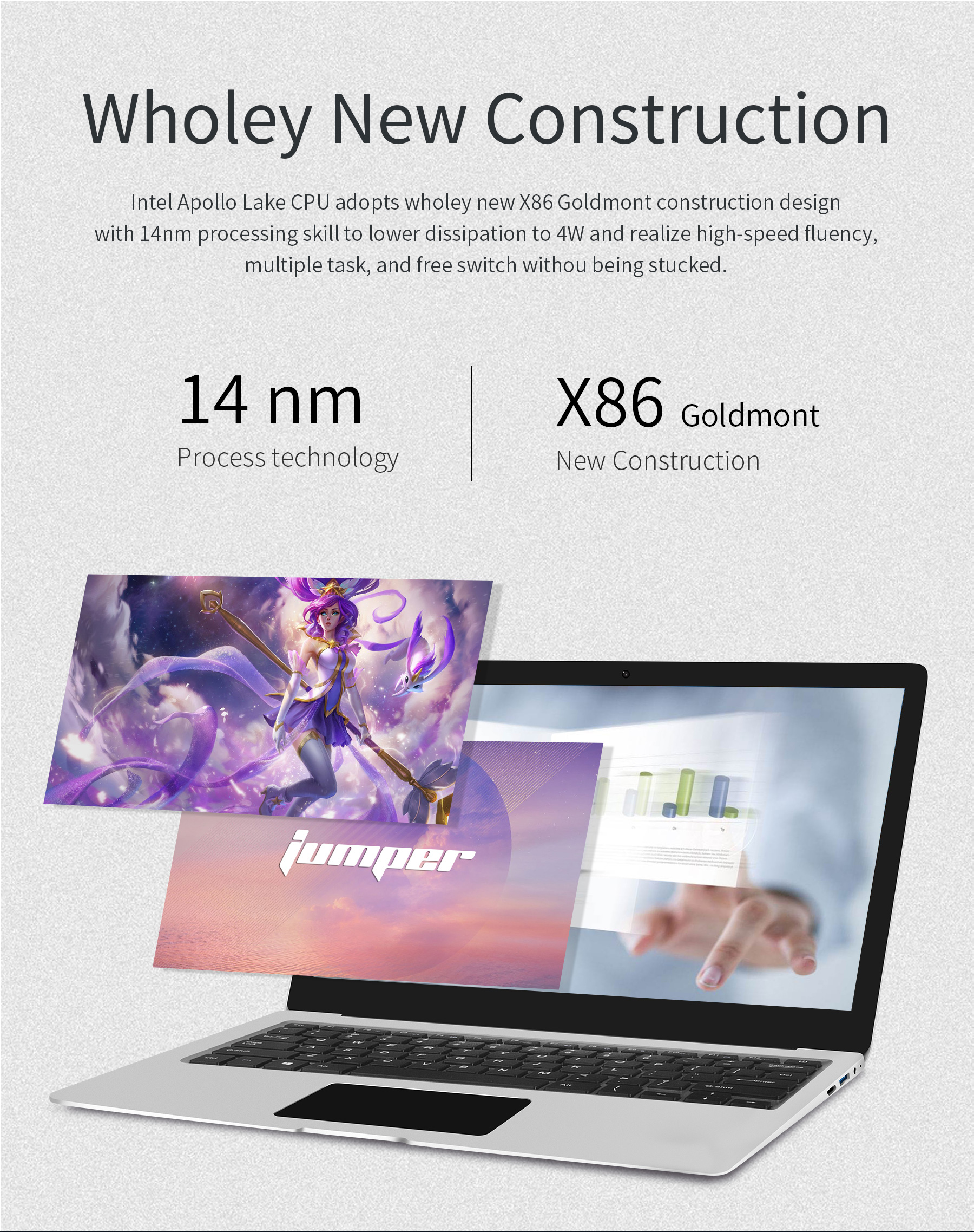 Jumper EZbook 3SE 13.3 inch Laptop Apollo N3350 3G DDR3 64G eMMC Dual Core Polar Silver Notebook