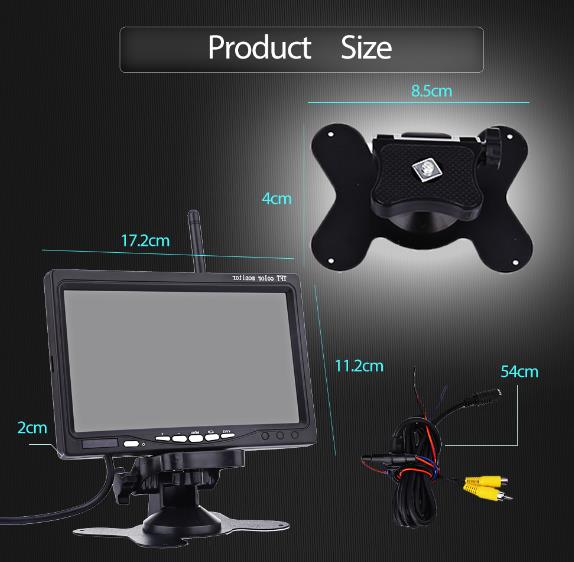 24V PZ607-W 7Inch Car Monitor Truck Wireless with 120 Degree Rear View LCD Colorful Monitor HD Camera